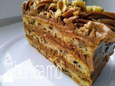 bunica.md — Tort crocant cu nuci și cremă de caramelă Tiramisu, Banana Bread, Caramel, French Toast, Sweets, Cookies, Breakfast, Ethnic Recipes, Desserts