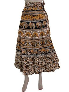 HIPPY GYPSY LONG COTTON WRAP SKIRT BEIGE YELLOW ELEPHANT PRINT SUMMER SKIRT 34""