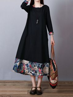 Print Patchwork Long Sleeve Loose Vintage Dresses is high-quality, see other cheap summer dresses on NewChic Mobile. Cheap Summer Dresses, Summer Outfits Women, Dress Outfits, Casual Dresses, Fashion Dresses, Dresses Dresses, Hijab Fashion Summer, Dress Hairstyles, Fashion Hairstyles