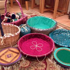 Homemade Mehndi thaals and baskets