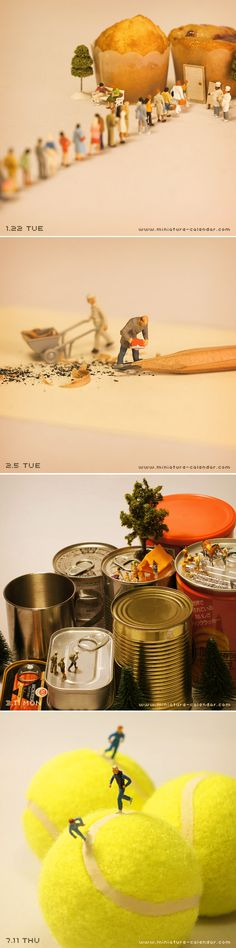 Miniature calendar | 田中達也 Tanaka Tatsuya I know this isn't really a DIY but its cool anyway