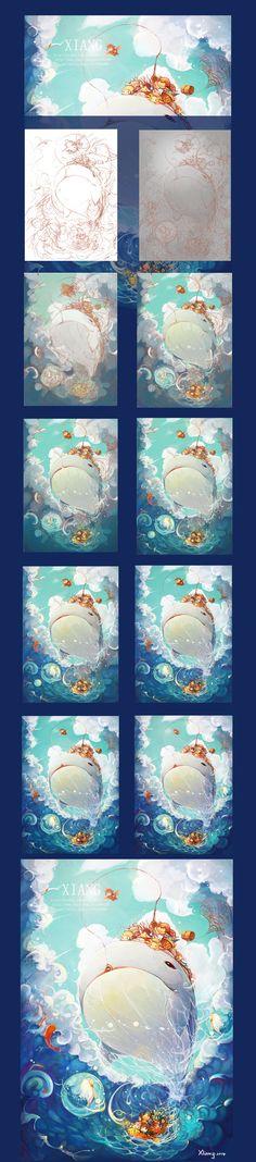 精灵-夏天   冬眠的Xiang. - 原创作品 - 涂鸦王国插画 Process Art, Design Process, Sai Brushes, Whale Art, Color Studies, Anime Fantasy, Drawing Reference, Painting & Drawing, Cool Art