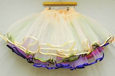 DIY Tutorial: Multi-Layered Tulle Petticoat (Make Your Own Rainbow Petticoat!) · DIY Tutorials · Guest Posts · Rock n Roll Bride I'm so wanting one of the multi-coloured ones. More sewing practice first! Sewing Hacks, Sewing Tutorials, Sewing Crafts, Sewing Projects, Sewing Patterns, Diy Clothing, Sewing Clothes, Doll Clothes, Ballerina Costume