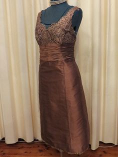 Vintage Handmade 50s Bronze Taffeta and Lace Cocktail by MTTC, $145.00