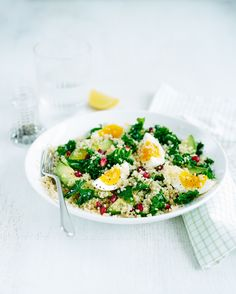 Egg, quinoa and kale salad | IF you do not care for Kale any green you do love will do!