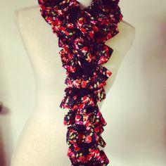 Hand Knit Floral Ruffle Scarves by MaidenLongIsland on Etsy
