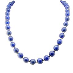 "Amazon.com: 10mm Blue Lapis Stone Gold Plated Sterling Silver Necklace, 18""+2"" Extender: Pendant Necklaces: Jewelry"