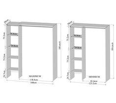Dressing extensible 4 niches 1 penderie en bois l123 160xp50xh182cm artemis - Dressing extensible ikea ...
