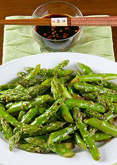 Sweet & Spicy Szechuan Asparagus: 2 pounds asparagus, ends discarded •1/4 cup soy sauce, low sodium •2 tablespoons rice wine vinegar, unseasoned •1/4 cup sugar •1 teaspoon red chili flakes •1/2 teaspoon fresh ground white pepper •1/2 cup water •2 tablespoons vegetable oil •2 tablespoons garlic, minced  •1 tablespoon  fresh ginger, minced •1 tablespoon sesame seeds, toasted