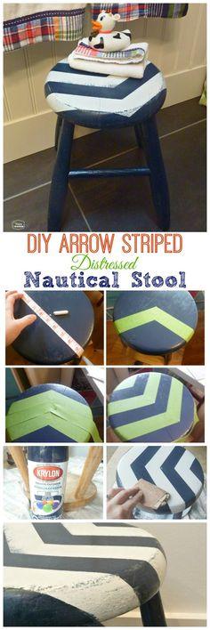 DIY Arrow Striped Distressed Nautical Stool for our Boys Nautical Theme Bathroom - CuTe!!
