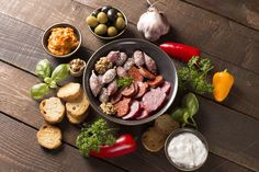 appetizer with sausages by peterzsuzsa on Creative Market