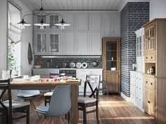 Design and visualisation for SomProduct Home Kitchens, Cottage, Interior Design, Table, Projects, Inspiration, Furniture, Kitchen Chairs, Home Decor