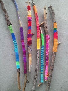 Knit covered walking sticks by Suzanne Tidwell - http://www.facebook.com/tidwellart