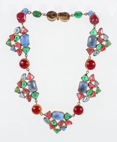 Beautiful & Colorful Gripoix Necklace attributed to Chanel | From a unique collection of vintage choker necklaces at https://www.1stdibs.com/jewelry/necklaces/choker-necklaces/