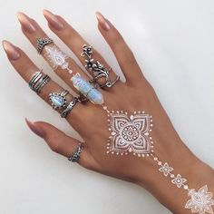 White Henna // Crystal Ring : Stacked Silver Rings