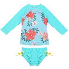 8a2be40d0 ranrann Traje de Baño Dos Piezas UV para Bebé Niña Bañador Estampado de  Flores Manga Larga