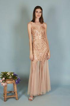 VESTIDO ÁNGELA | Teria Yabar Primavera Verano 2020 Formal Dresses, Fashion, Sequins, Tulle, Long Gowns, Spring Summer, Sleeves, Dresses For Formal, Moda