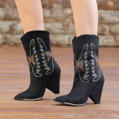 Makron Süet Siyah Dikiş Desenli Western Bot  #suede #black #heels #boots #western #süet #siyah #topuklu #bot #kovboy Suede Heels, Western Boots, Booty, Ankle, Shoes, Fashion, Moda, Swag, Zapatos