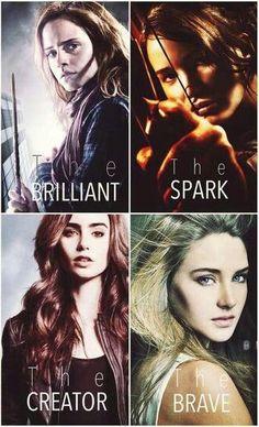 hermione (harry potter) katniss ( hunger games) clary (mortal instruments) tris (divergent)