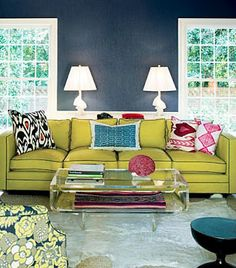 chartreuse sofa, navy piping