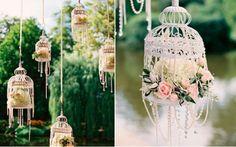 Você pode decorar a área externa do salão com gaiolinhas suspensas - Foto: Pinterest