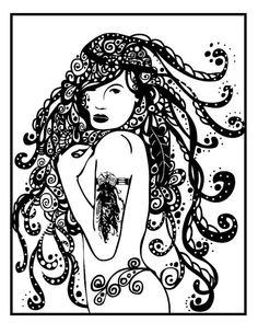 mature bohemian illustration nude adult coloring page instant download nude female illustration coloring - Nude Coloring Book
