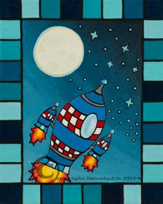 Prints on canvas rocket by Decoludik on Etsy Kids Rugs, Etsy, Vintage, Canvas, Prints, Art, Home Decor, Canvases, Outer Space