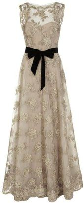 ShopStyle: Monique Lhuillier Embroidered Tulle Gown