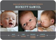 Baby Figures - Boy Photo Birth Announcements - Hello Little One - Charcoal - Gray : Front