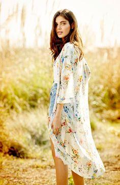 New Fashion Women Chiffon Kimono Sunblock Floral Print Half Sleeve Summer Beach Top Cardigan Black/Beige