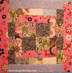 Four Patch Log Cabin Quilt Pattern Tutorial by The Quilt Ladies