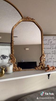 Vintage Bedroom Decor, Gold Bedroom Decor, Diy Wall Decor, Mirror For Bedroom, Diy Mirror Decor, Antique Decor, Diy Bedroom, Vintage Gold Mirror, Gold Wall Mirror
