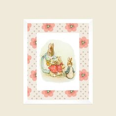 ***** FRAMES ARE NOT INCLUDED**** ITEM DETAILS: Peter Rabbit with Girl Floral Background Vintage Prints. These Prints can be personalized and