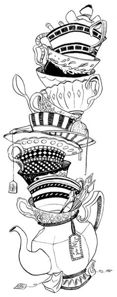 Teacups Coloring Page By RachelCurtis