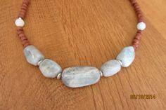 Short necklace with aquamarine gemstone nugget beads.  $30 www.etsy.com/shop/casanoni
