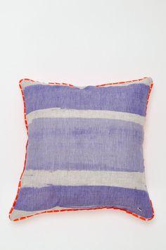 Stripe Pillow - Blue + Orange