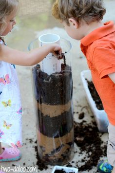 Make an observation tower for earthworms with a glass container, a pvc pipe and some rocks and soil.  A great way to observe worms for several days!