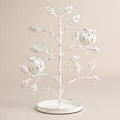 Whitewash Tree with Owls Jewelry Stand Pinned by www.myowlbarn.com