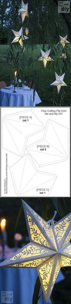 DIY paper Star Lanterns (with free cutting file and pdf template & step by step tutorial) by Debbie at Me Diy Projects To Try, Craft Projects, Christmas Crafts, Christmas Decorations, Christmas Décor, Paper Decorations, Xmas, Paper Star Lanterns, 3d Templates