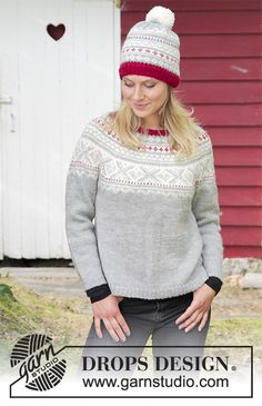 Narvik / DROPS - The set consists of: Knitted jumper with round yoke, multi-coloured Norwegian pattern and A-shape, worked top down. Sizes S - XXXL. Hat with multi-coloured Norwegian pattern and pom pom. The set is worked in DROPS Karisma. Narvik, Drops Design, Knitting Patterns Free, Free Knitting, Crochet Patterns, Free Pattern, Drops Karisma, Norwegian Knitting, Magazine Drops