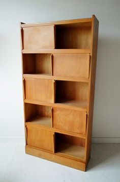 Anonymous; Beech Cabinet with Sliding Doors, 1950s.
