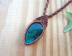 Chrysocolla macrame necklace macrame jewelry by SelinofosArt
