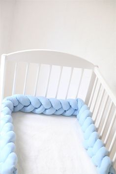 Excited to share the latest addition to my #etsy shop: Crib Bumper, Braided Crib Bumper, Crib Bedding, Knot Pillow, Nursery Decor, Cradle Bumper, Cot bumper, Linen Bedding