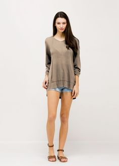 Solid Summer Sweater Poncho (SM317) TAUPE/ Contents: 100% Viscose/ One Size Fits All
