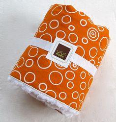 Baby Blanket Orange Circles/Minky