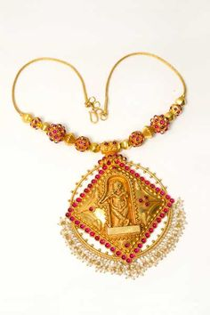 Indian Jewellery and Clothing: Gold temple jewellery short harams from T.T.Devsi jewellers..