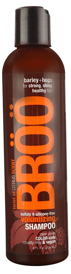 BROO Shampoo Volumizing Pale Ale Twist of Citrus. Made in Asheville, NC, the beer capital of the known universe!