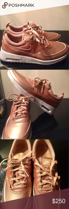 PRICE ⬇️NIKE AIR MAX THEA- SIZE 11 ‼️ Nike Air Max Thea in Rose gold size 11! Brand new, never been worn. Such a gorgeous color- very difficult to find! Perfect for that pop of color for spring and very in style with the athleisure style that all the models are wearing right now! Stay chick with these and let your friends do all the talking 😍 open to reasonable offers ✨ Nike Shoes Sneakers