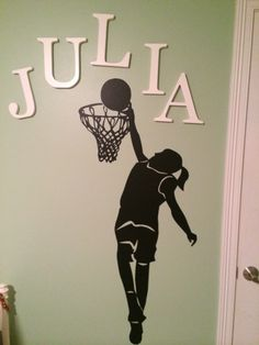 Ideas For Basket Ball Room Girls Wall Decals Basketball Bedding, Basketball Wall, Girls Basketball, Basketball Socks, My New Room, My Room, Girl Room, Basketball Decorations, Teen Girl Bedrooms