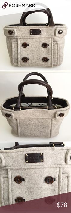 """Kate Spade Beantown Quinn Sweater Bag Oatmeal A medium sized handbag made of wool with button detailing. Open top with zipper interior slot. Some wear to the handles (see image). Overall in excellent condition. Approximately 13"""" x 10"""" x 6"""" kate spade Bags Shoulder Bags"""